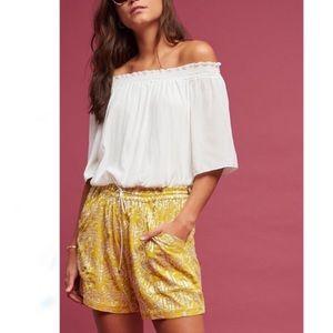 Anthropologie Elevenses Yellow Metallic Shorts